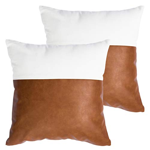 HOMFINER Faux Leather and 100% Cotton Decorative Throw Pillow Covers for Couch Bed Sofa, 18 x 18 inch Set of 2 Modern Home Decor Accent Square Bedroom Living Room Cushion Cases Cognac Brown White