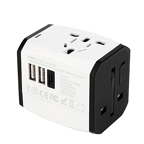 CHICAI Tapón de viaje del adaptador de alimentación internacional 2 USB Puertos de trabajo universal para 150 países - Adaptador de 120 voltios - Adaptador tipo C tipo A Tipo G I F para para REINO UNI