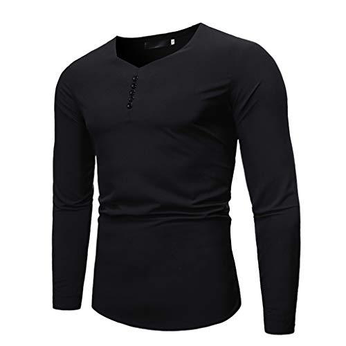 DNOQN Polo Shirt Männer Langes Sportshirt Herren Einfache Pure Lange Ärmel Top Mode und Komfortable Bluse L
