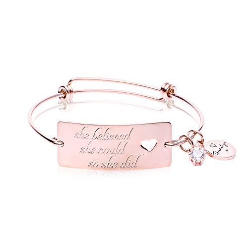 FJ FREDERICK JAMES 'She Believed She Could So She Did' Bracelet - 18K Gold – Expandable Jewelry | Inspirational Bracelets for Women to Provide Strength & Motivation
