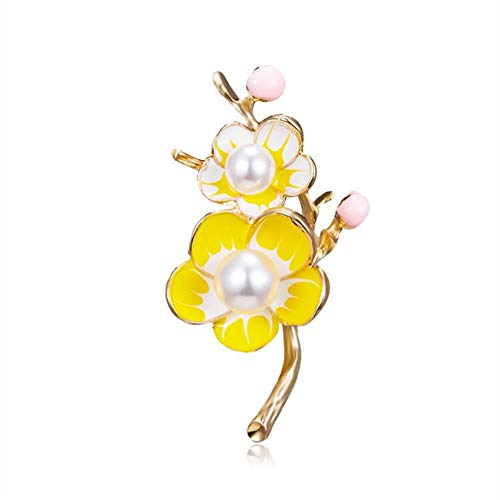 AILUOR El Oro de Las Mujeres de la Manera plateó Las Perlas Floral Broche Pin de la Solapa del Ciruelo Ajustable