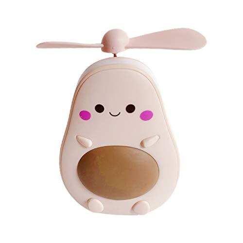 YOURPAI Mini ventilador, portátil, forma de aguacate, portátil, mini ventilador de aire con espejo de luz de llenado, ventiladores USBHappy