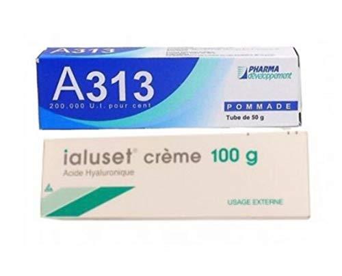 Ialuset Hyaluronic Acid + A313 Retinol Vitamin A Anti Ageing Aging Wrinkles Acne Mature Dry Skin Night Face Skin Moisturizer Healing Cream & Gel Duo 100g Pump Bottle & 50g Tube Nr 1 Best Skincare!