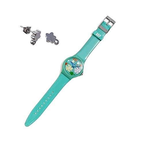 Set Agatha Ruiz de la Prada Uhr AGR241 grünen Dschungel Blume Ohrringe 925m Silber Zirkone Sterling - Modell: AGR241