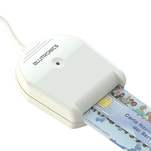 Lettore di Firma Digitale CNS Smart Card USB 2.0 BLUTRONICS BLUDRIVE II CCID adatto per CRS, INPS, Agenzia Delle Entrate, Carta Tachigrafica, Carte a Memoria, Plug & Play Windows XP/Vista/7/8/10/Server, Linux, MacOS, colore bianco