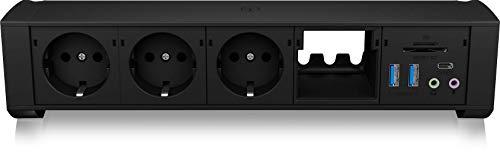 ICY BOX klem tafelstopcontact met USB-hub, kaartlezer en audio, meervoudige stekkerdoos, USB 3.0, aluminium, zwart