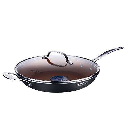 LOVE PAN 12 Inch Non-Stick Frying Pan with Lid-Copper Cooking Fry Pan Compatible with Induction Hobs-Oven Suitable and Dishwasher Suitable Black
