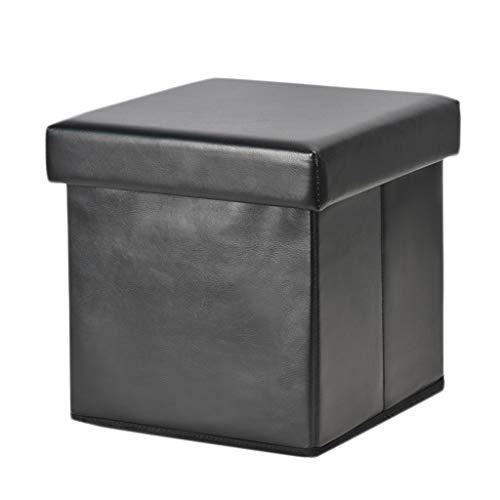 Wddwarmhome Boîte de Rangement Pouf de ménage en PVC avec Tabouret de Rangement Pliable - 29,5 * 27,5 * 29,5 cm - Poids Maximal 50 kg - Facile à Nettoyer