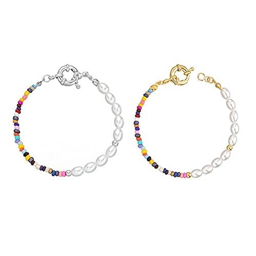 Gargantilla y pulsera de perlas para mujeres y niñas, hecho a mano, con cuentas de colores, gargantilla bohemia Y2K