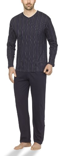 Moonline - Herren Schlafanzug lang aus 100% Baumwolle mit V-Ausschnitt und Streifen-Design, Farbe:Streifen-Druck auf Navy, Größe:50-52