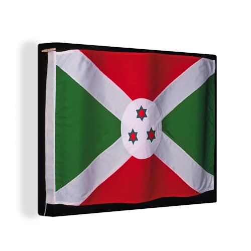 Leinwandbild - Flagge von Bur&i auf schwarzem Hintergr& - 120x90 cm