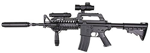 Well Paquete Completo con Accesorios - Arma para Airsoft, Modelo Mr 799-M4-S System Commando, con Resorte, 0,5 Julios, Color Negro, Recarga Manual