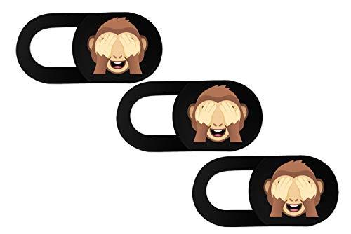 Pack de 3 fundas para cámara web con diseño de emoji de 0,8 mm, ultrafinas, para portátiles, tabletas, teléfonos móviles, iMac, iPhone, ordenador portátil (3 Monkeys)