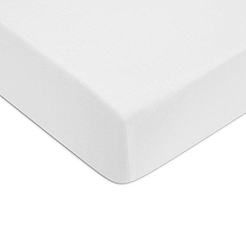 Jalla Drap Housse, Satin de Coton, Blanc, 200x200 cm