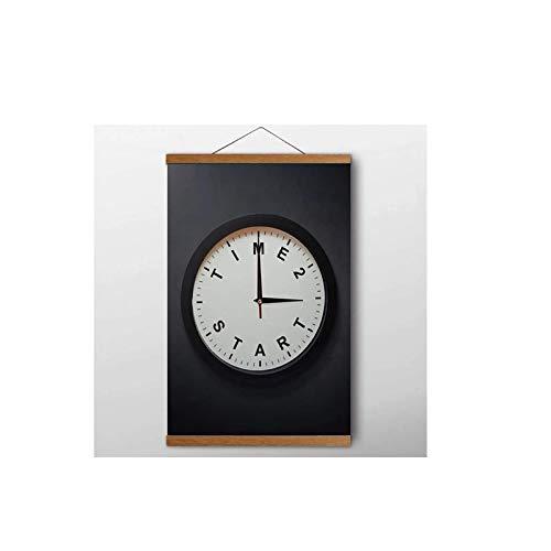 SBGM Cartel Impreso en Blanco y Negro con Imagen de Reloj para Sala de Estar, decoración del hogar, Arte de Pared, Pintura en Lienzo, Arte de Pared, impresión en Lienzo, 40X60Cm con Marco