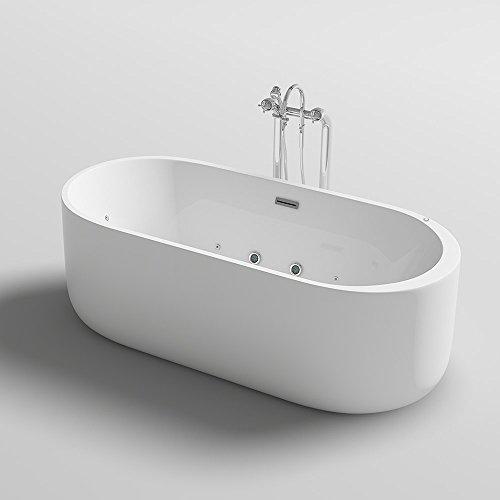 Home Deluxe - freistehende Design Badewanne - Bola Plus - inkl. Whirlpoolfunktion - Maße: 170 x 80 x 58 cm I Indoor Jacuzzi, Spa, 2 Personen