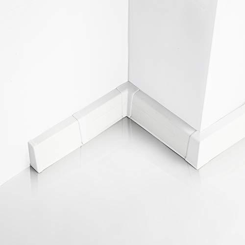 [DQ-PP] 16 Meter Sockelleisten 55mm PVC Weiß Laminatleisten Fussleisten aus Kunststoff PVC Laminat Dekore Fußleisten