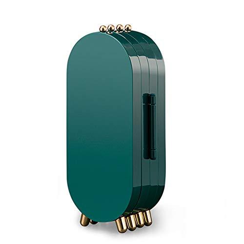 Caja de almacenamiento de joyería ligera de lujo para pendientes, collar multicapa a prueba de polvo contenedor de escritorio con espejo organizador de cosméticos de viaje (Morandi)