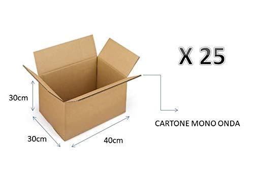 25 SCATOLE DI CARTONE 40X30X30 cm - IMBALLAGGIO CARTONE MONO ONDA PER SPEDIZIONI/MAGAZZINO/TRASLOCHI SCATOLA NEUTRO