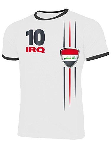 Irak 5839 Fussball Fanshirt Fan Shirt Tshirt Fanartikel Artikel Männer Herren Ringer T-Shirts Weiss Schwarz M