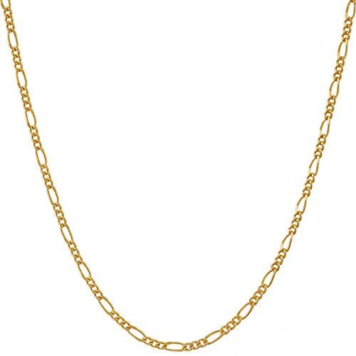 Lifetime Jewelry 1,5 mm Figarokette für Damen und Herren, 24 Karat vergoldet, Vergoldete Basis, gold, 8A 1.5mm Figaro Chain