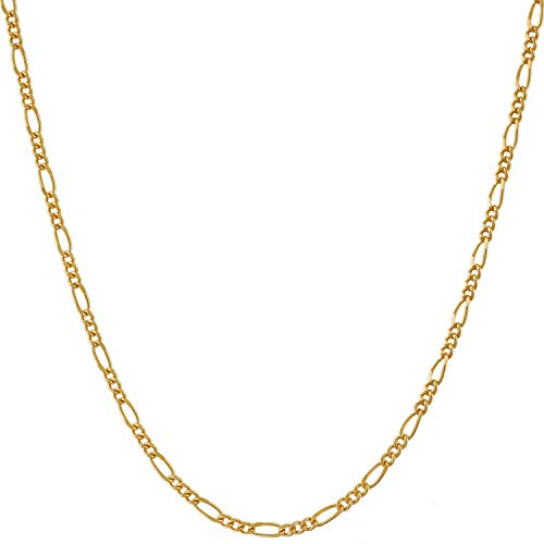 Lifetime Jewelry 1.5mm Figaro Chain Necklace Women and Men 24k Real Gold Plated (Gold, 18)