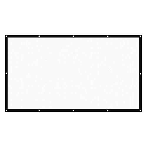 Gobesty Pantalla para proyector portátil de 60 pulgadas, plegable, con bordes negros y agujeros para colgar, para cine en casa, cine al aire libre, etc. (16:9)