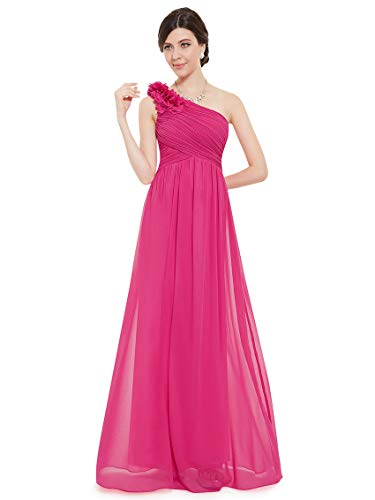 Ever-Pretty Vestido de Noche un Hombro Largo A-línea para Mujer EU 54 Rosa Fucsia