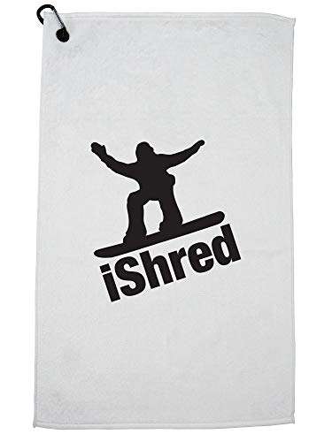 Hollywood Thread Trendy iShred Snowboarden Shredding Silhouette Golf Handdoek met Karabijnhaak Clip