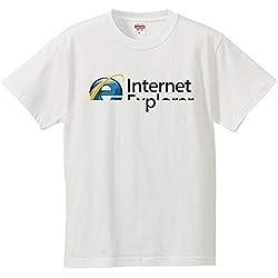 南堀江のおもしろtシャツ 「Internet Explorer」 パソコン インターネット ゲーム IT PC系ネタ おもしろ半袖Tシャツ ホワイト