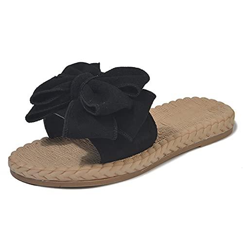 [ newNE ] [ ニューネ ]リボン サンダル ミュール ナチュラル サマーサンダル シューズ 靴 編み ストロー ビーサン つっかけ スリッパ オシャレ おしゃれ お洒落 きれいめ かわいい かかと なし 歩きやすい あるきやすい ペタンコ 履きや