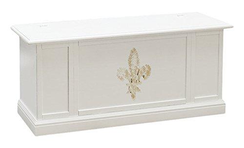 Pieffe Mobili Bolognese Cassapanca Baule, Legno, Bianco Decorato, 120x35x45 cm