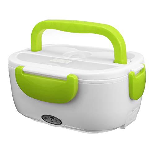 Bidema Portátil eléctrico 12V Caja de Almuerzo con calefacción Cajas de bento Auto Coche Alimento Recipiente de Arroz Calentador para Oficina de Escuela Casa Tailware (Color : Verde)