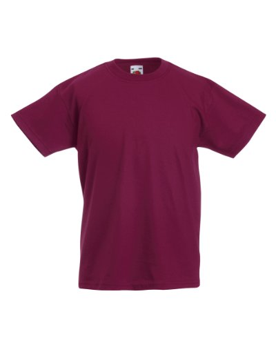 Fruit of the Loom Jungen T-Shirt, Rouge - Bordeaux, 7 Jahre