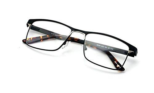 Men Rectangular Stainless Steel Glasses Frame/w Anti Blue Ray Lens - Computer Glasses - Blocker (Black, 2.00)