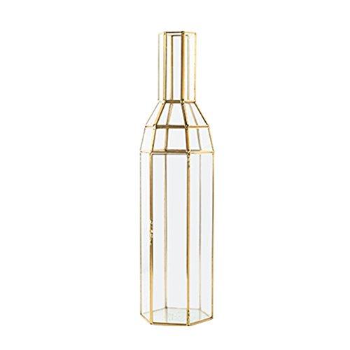 ppyy-G Vase Dekoration Licht Luxus Gold Kupfer Glas Vase Hause Arbeitsplatte Dekoration Desktop Kerze Lampe Dekorative Flasche Blume Anordnung