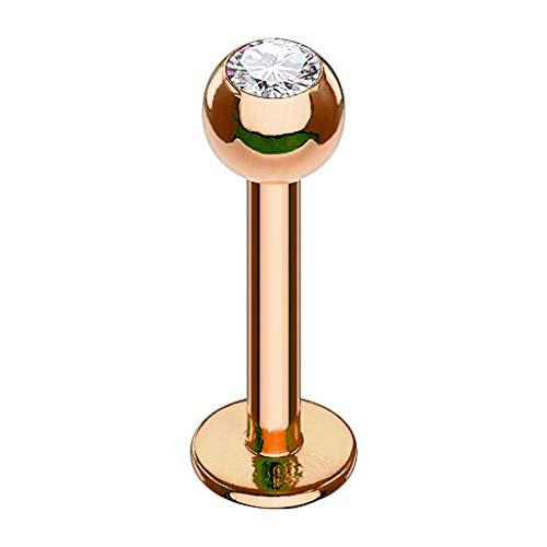 Piersando Piercing Stab Stecker Kugel mit Kristall Lippen Labret Lippenpiercing Ohr Tragus Ohrpiercing Helix Nase Intim Zungen Nasen Rosegold Clear 1,2mm x 8mm