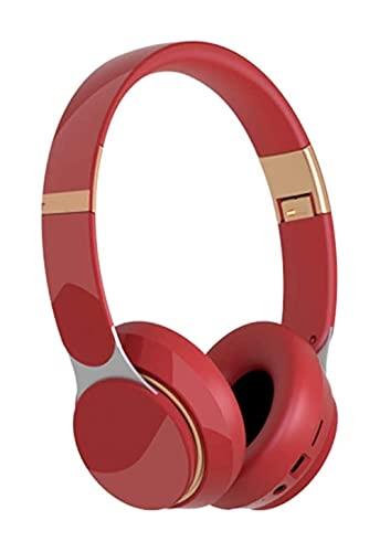 LIXBD Kabellose Kopfhörer, faltbar, Gaming-Headset, schnurloser Kopfhörer für Computer, Desktop, Sport, Laufen (Farbe: Rot)
