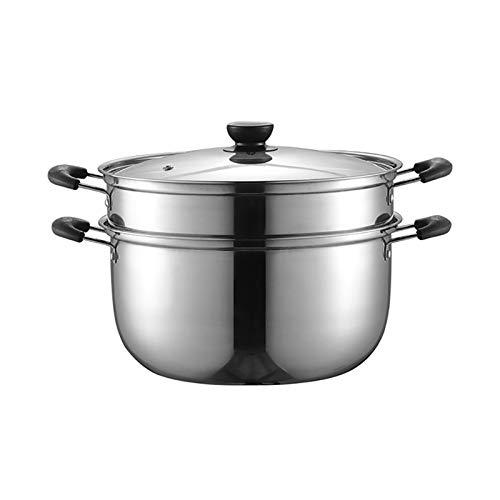 Utensilios de cocina al vapor 201 de acero inoxidable/olla de sopa de 2 capas de 2 capas Hogar con vapor 22 cm / 24cm / 26cm Espesado Adecuado para estufa de gas/cocina de inducción Charola para h