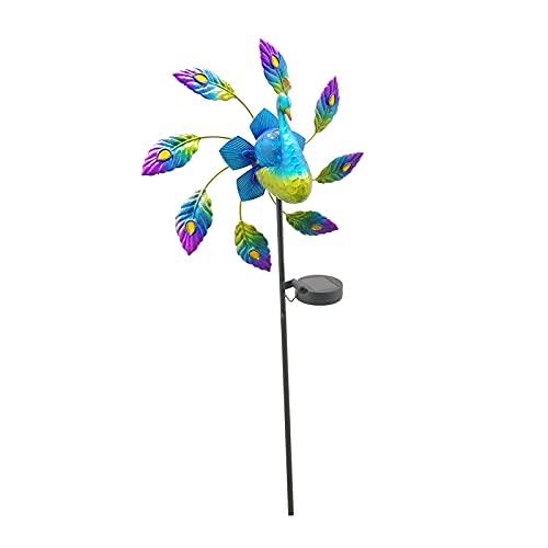 Desconocido Generic de Viento Solar Estaca de jardín de Metal Luz LED Solar Pavo Real al Aire Libre Escultura de Viento Decorativa para Camino de Patio Césped
