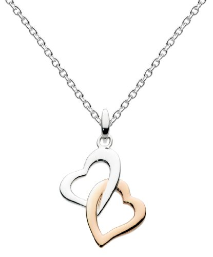 Dew Womens Sterling Silver and 14ct Plated Rose Gold Interlinking Hearts Necklace 9868HP, 18'
