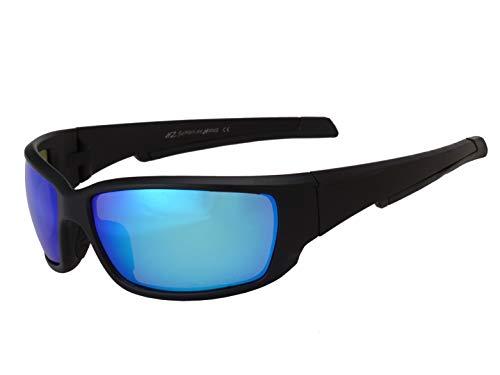 HZ Series Superfit - Premium Polarized Sunglasses by Hornz – Sunglasses for Men – Full Frame Strong Arms – Matte Black Frame – Ice Blue Mirror Lens