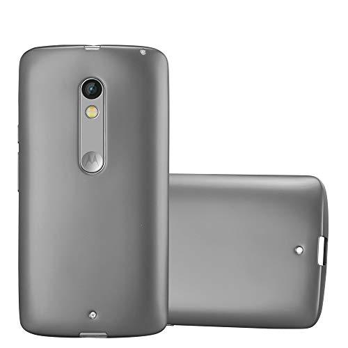 Cadorabo Custodia per Motorola Moto X Play in Grigio Metallico - Morbida Cover Protettiva Sottile di Silicone TPU con Bordo Protezione - Ultra Slim Case Antiurto Gel Back Bumper Guscio