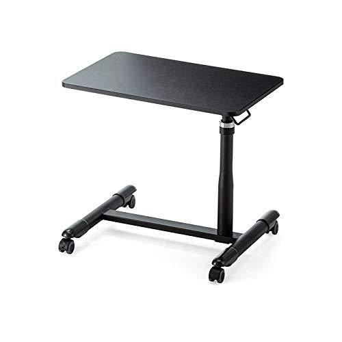 CHOUE Aluminiumlegierung Folding Table mit Gelbe Eichenplatte,Höhenverstellbar, Abschließbare Rollen, Faltbar,Höhenverstellbare für Schlafsofa Home Office