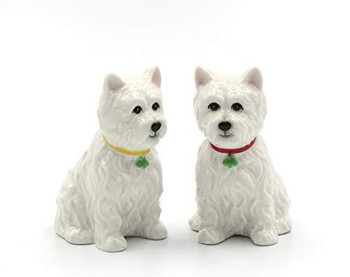 "Fine Porcelain Ceramic West Highland White Terrier Western Terrier Westie Dog Salt and Pepper Shakers Set, 2-7/8"" H"