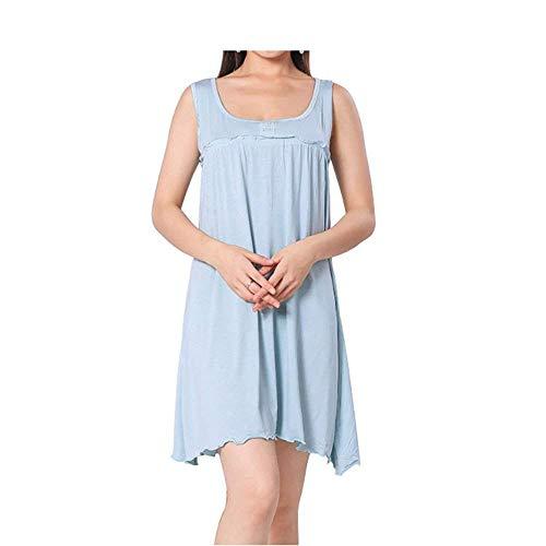 Ms Princess Perforación Pijamas Camisón De Caliente La De Calidad La Camisa Mode De Marca Tocando Fondo Modal Sección Larga De Algodón Pijama De La Casa (Color : Azul, Size : One Size)