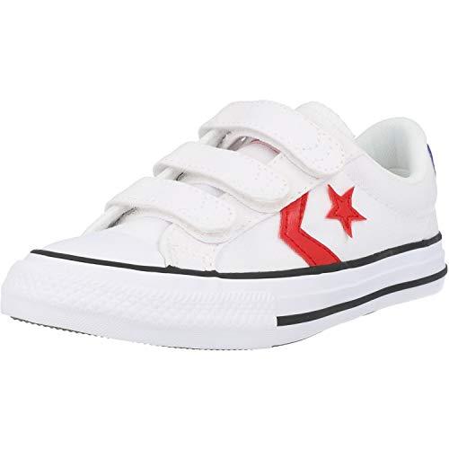 Converse Star Player 3V Ox Blanco/Azul (White/Blue) Tela Adolescentes Entrenadores Zapatos