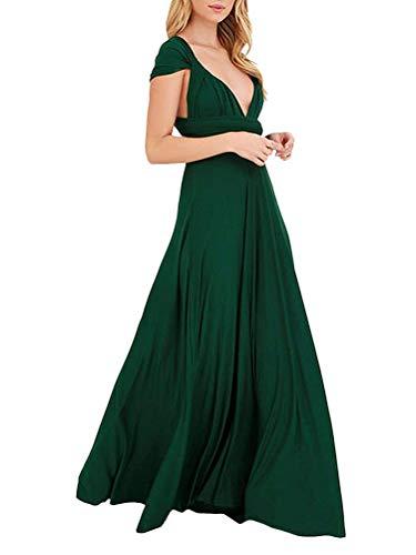 ShallGood Vestido de Fiesta de Mujer de Dama de Honor Transformer/Infinity Sin Mangas Maxi Corto Vestidos de Cóctel Rodilla Multi-Way Dresses XS-XL Verde ES 38