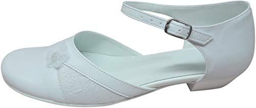 deine-Brautmode Zapatos de Comunión, Zapatos de Comunión, Zapatos Infantiles, Piel Comunión, Flor de Perla, color Blanco, talla 36 EU