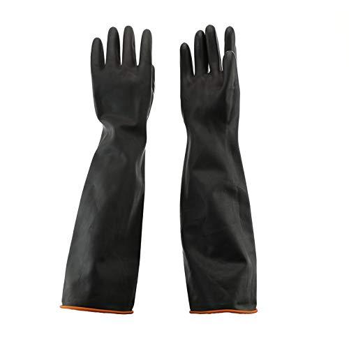 55cm Gants en Latex Résistant aux Produits Chimiques Gants de Protection en Caoutchouc Étanche Résistant aux Acides/Alcalis pour Industrie, Ménage, Lavage de Voiture